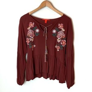 Chelsea & Violet Boho Peplum Bubble Sleeve Top